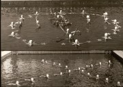 Two pictures of the aquatic choreography in the dismantled swimming pool